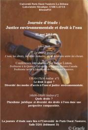 Journée d'étude «Justice environnementale et droit à l'eau»