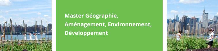 Master Géographie, Aménagement, Environnement, Développement
