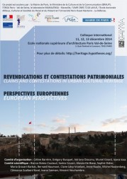 Colloque internationale « Revendications et Contestations patrimoniales. Perspectives européennes »