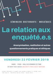 Séminaire doctoral Mosaïques: La relation aux enquêtés